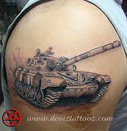 Tattoo Art Work By Tattoo Artist T72 Military Tank Tattoo