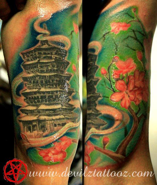 tattoo art work by tattoo artist buddhisttemple pagoda cherryblossom color tattoo. Black Bedroom Furniture Sets. Home Design Ideas